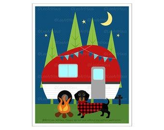 416D Camping Art - Black and Tan Dachshund Dog Camping Wall Art - Vintage Camper Drawing - Camping Decor - Cabin Wall Art - Dachshund Print