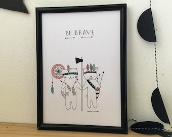 """Graphic poster for boy """"Choumi et Michou :be brave"""" - graphic design poster."""