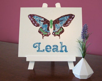 Butterfly Custom Name Painting, Baby Girl Personalized Gift, Girls Cute Room Decor, Butterfly Nursery Name Wall Art