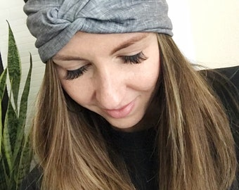 Slate Grey Wide Headband, Bohemian, Turban, Women's Boho Turban, Women's Head Wrap, Hippie, Twist Turban Headband, Solid Wrap, Hair Accessor