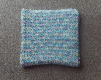 Afghan,baby,infant,shower,gift,crocheted,multi-color,cover,blanket,girls,pink,yellow,blue,white,car seat,stroller,pastels