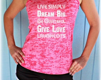 Burnout Workout Tank Top. Live Simply. Dream Big. Womens Running Tank Top. Workout Inspiration. Fitness Tank Top.