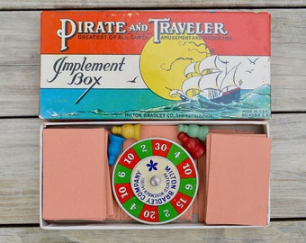 Vintage Pirate and Traveler Game . Milton Bradley Co. No. 4563 . Made USA . Nice Game
