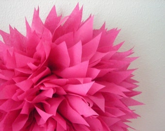 CERISE tissue paper pom / pink bachelorette party decorations / wedding decorations  / hot pink birthday party poms / luau / mexican fiesta