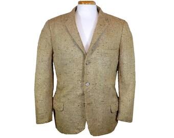 L 40 Tussah Silk Jacket, 1960's Vintage Single Breasted Sportcoat, Menswear Blazer, Large