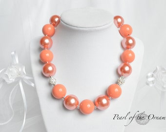 Coral pearl chunky statement, necklace, flower girl, maid of honor, girls, women, baby, bridesmaid, birthday, wedding, bubblegum, peach
