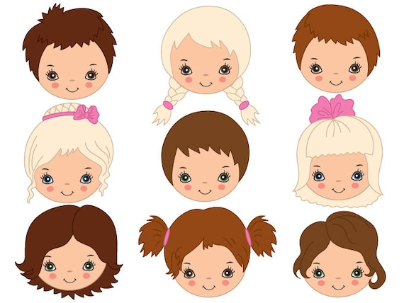 kids faces clipart digital vector girl boy child rh etsy com vector facebook vector facebook logo