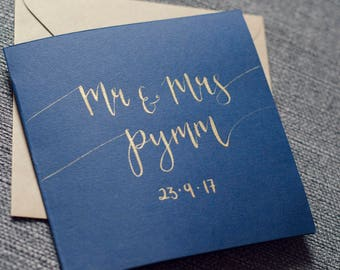 Personalised wedding card • Mr and Mrs • Mr and Mr • Mrs and Mrs • Modern Calligraphy