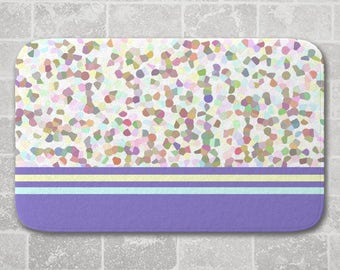 Lots of Dots Bath Mat, Blue, Colorful Bathroom Decor, Memory Foam Microfiber Floor Mat, Kitchen Floor Decor, Interior Design, Kids Decor