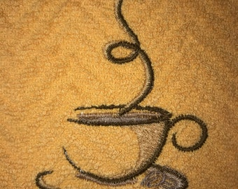 Kitchen Towel - Embroidered Coffee Smoke