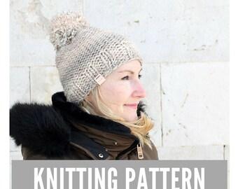 Knitting Pattern / Easy knit hat with pom pom / Slouchy Hat Pattern / Easy knitting pattern