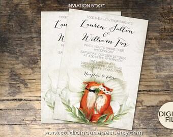 Fox wedding invitation set, Woodland invitation, Fox theme invitation, Printable fox invitation, woodland wedding printable