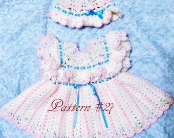 Crrochet Pattern 27. Ruffled pinafore baby dress and ruffled hat pattern DIY baby shower gift Preemie pattern Infant pattern Toddler pattern
