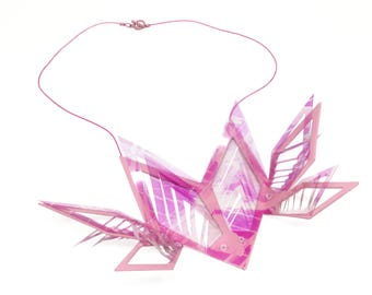 Large Pink Terrarium Necklace - Bold Statement Hand Formed Scored & Folded Powder Coated Copper Laser Cut Acetate Geometric Necklace