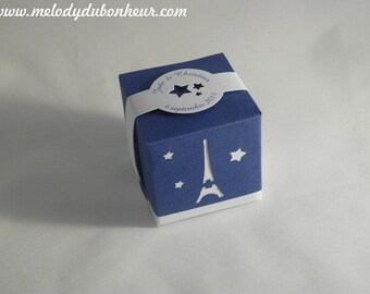 Box dragees Paris theme Wedding guest gift Eiffel Tower candle and stars Midnight blue and white