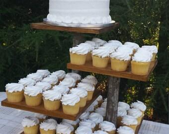 Rustic Cupcake Stand, Log Cupcake Stand, Rustic Cake Stand, Tree Cupcake Stand, 4 Tier Stand, Wedding Cake Stand, Rustic Wedding