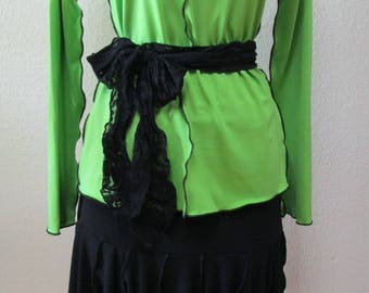 Kiwi green long sleeves top with a black belt decoration plus made in USA (v121)