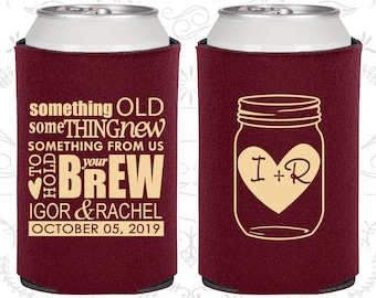 Mason Jar Wedding Favors, Personalized Wedding Favors, Rustic Wedding Favors, Something Old Something New, Beer Can Coolers (C01)