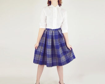 60s Warm Wool Plaid Pleated Skirt in Grey and Purple S