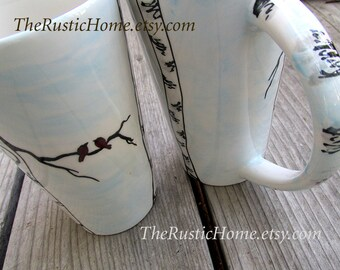 Birch tree birds ceramic pottery kiln fired mug winter birch tree coffee mug tea mug tall pottery mug 16oz