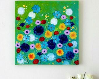 Floral Painting, Summer Landscape, Meadow Art, Cornflowers, Dandelions, Abstract Flowers, Green Painting, Flowers Artwork, Flower Art