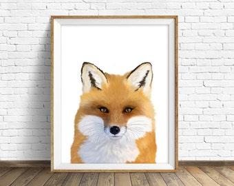 "Fox art print, instant download printable art,  woodland animals, animal prints, art, large art, large wall art, woodland nursery - ""Foxy"""