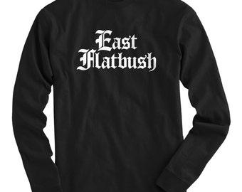 LS East Flatbush Tee - Gothic Brooklyn Long Sleeve T-shirt - Men and Kids - S M L XL 2x 3x 4x - Brooklyn Shirt, NYC - 4 Colors