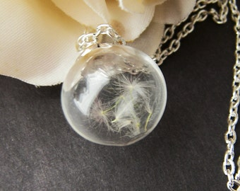 Dandelion Seed Necklace, Handblown Glass, Nature Necklace, Wish Necklace, Real Dandelion, Handmade by Wishes on the Wind, Inspiratinal Gift