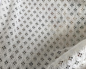 150 cm cotton blend lace fabric about ecru color