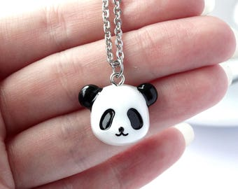 Cute black and white panda charm necklace animal lover pendant nature panda lover gift children adult necklace