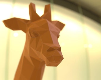 Giraffe Paper Trophy - 3D Papercraft Model - PDF Template - Download PDF Template - DIY Decoration