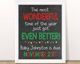 PRINTABLE Christmas Pregnancy Announcement, Most Wonderful Time of the Year, Chalkboard Sign, Holiday Pregnancy, Pregnancy reveal, Winter