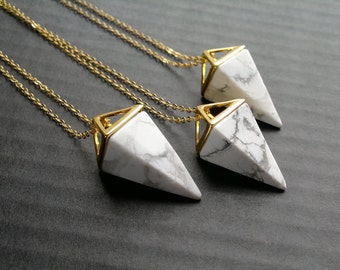 White Howlite Necklace Triangle Necklace Howlite Pendulum Geometric Necklace White Stone Necklace Amethyst Jewelry Geometric Jewelry Mineral