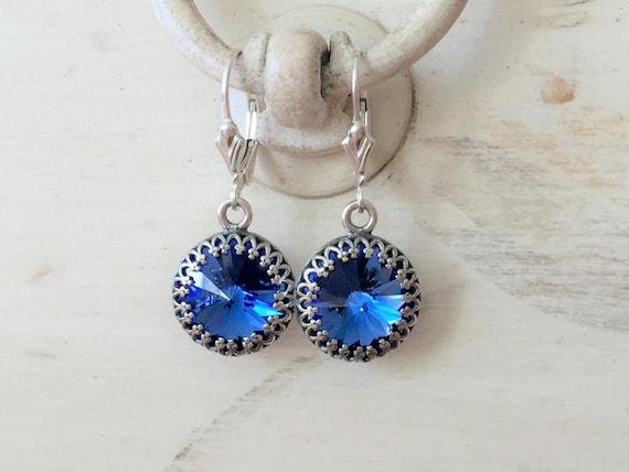 Sapphire Crystal Sterling Silver Earrings