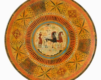 Geometric Period Plate - Horses Design - Hand-painted Replica 700 BC