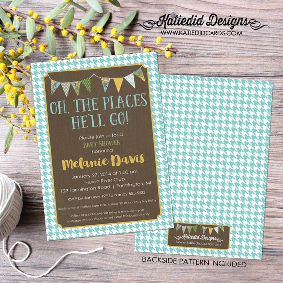 oh the places you'll go baby shower invitation couples coed houndstooth bunting banner rustic gender reveal neutral | 1219 Katiedid Designs