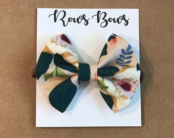 Tan floral hair bow - Infant / Toddler - Nylon Headband / Clip