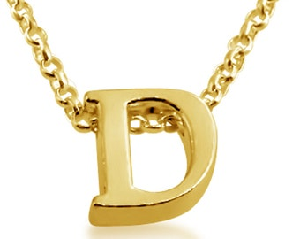 Initial Letter D Personalized Letters Serif Font Charm Pendant Necklace #14K Gold Plated over 925 Sterling Silver #Azaggi N0597G_D