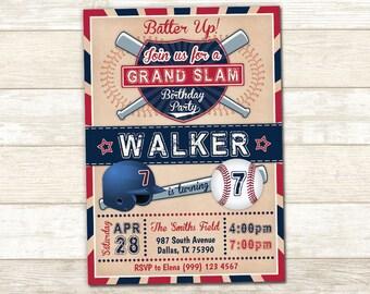 Baseball Party Invitation - Baseball Birthday Invite - Vintage Baseball Invitation - Baseball Party Invite - Boys Birthday Invite