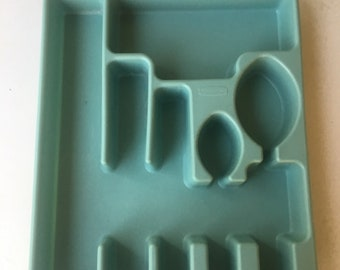 Vintage Rubbermaid Silverware Holder Robins Egg Blue