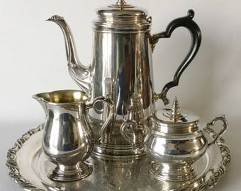 Oneida Heirloom Bennington 5 Pc COFFEE SET Creamer Sugar Tray Silverpl USA 1959