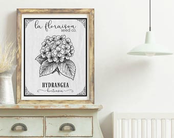 French Cottage Style Seed Packet Printable - Hydrangea
