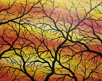 Modern painting : Silhouettes of branches.