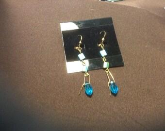 Lever back blue and gold tila earrings