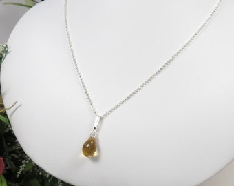 Citrine Gemstone Necklace, Yellow Gemstone Necklace, November Birthstone, Citrine Pendant In Sterling Silver, Keira's Crystal Creations