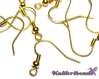 20 x - Brass Fish Hook Earring Wires with Ball - Gold plated