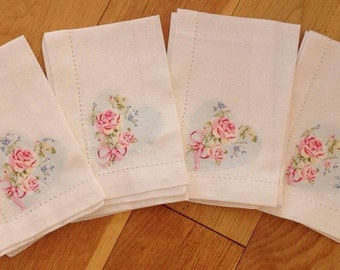 Gifts for thr home Shabby Chic X4 table napkins customised with Rachel Ashwell Ballet rose fabric hearts