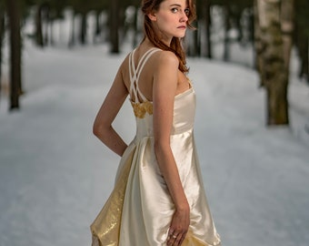 Princess Wedding Dress / Empress Gown / Gold and Ivory / White and Silver / Tulle, Satin, Low Back and Straps