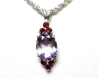 "Rose amethyst, amethyst  pendant, cocktail pendant,  pale plum red, statement piece, necklace pendant, ""Sweet Soft Plum"""