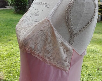 Shabby chic romantic Bride bridal pink Nightgown lace VINTAGE lace woman pink